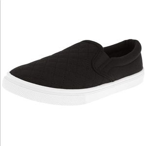 NIB Quilted Black Slip On Sneakers